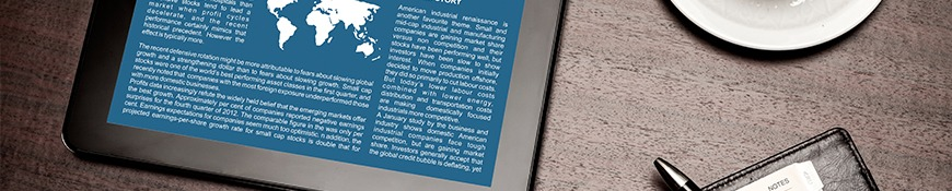 Close up image of an ipad open to an article.